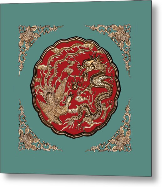 Dragon And Phoenix Metal Print