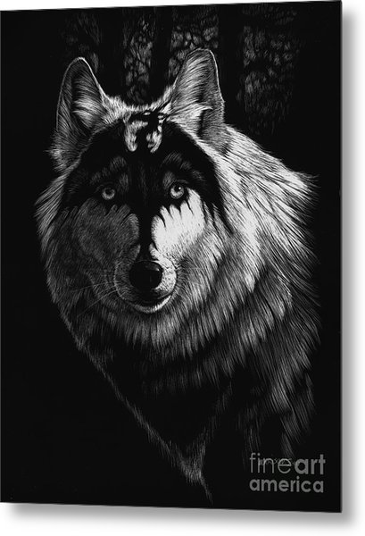 Dragon Wolf Metal Print