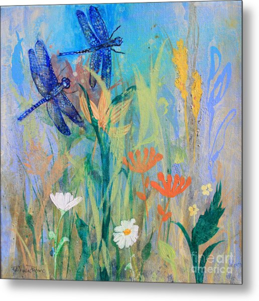 Dragonflies In Wild Garden Metal Print