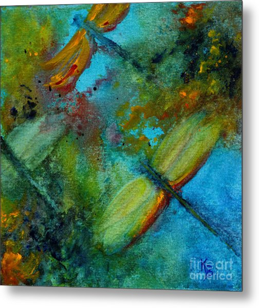 Metal Print featuring the painting Dragonflies by Karen Fleschler