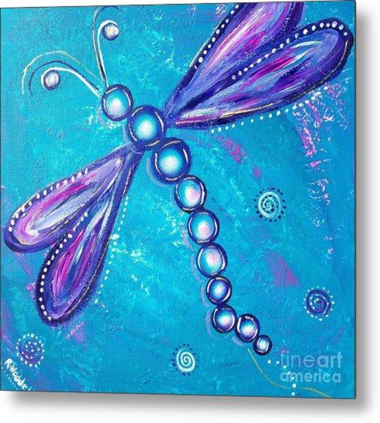 Dragonfly Bubble Art Metal Print