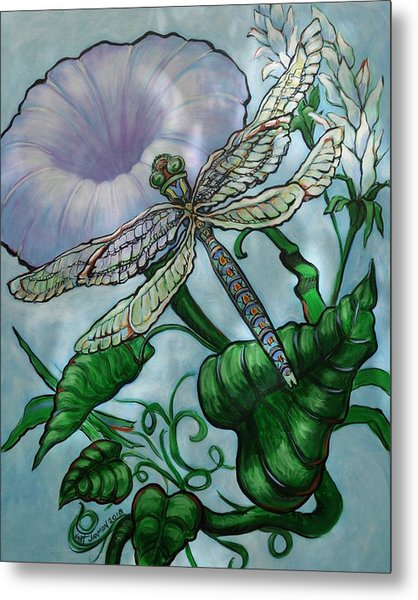 Metal Print featuring the painting Dragonfly In Sun by Jeanette Jarmon