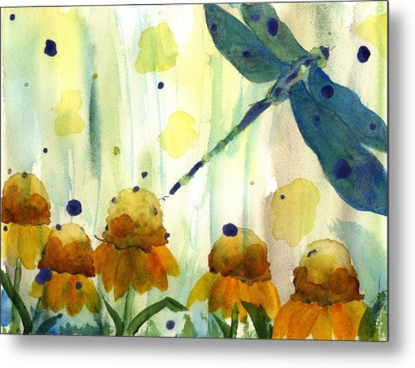 Dragonfly In The Wildflowers Metal Print