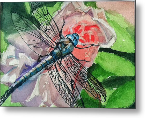Dragonfly On Rose Metal Print