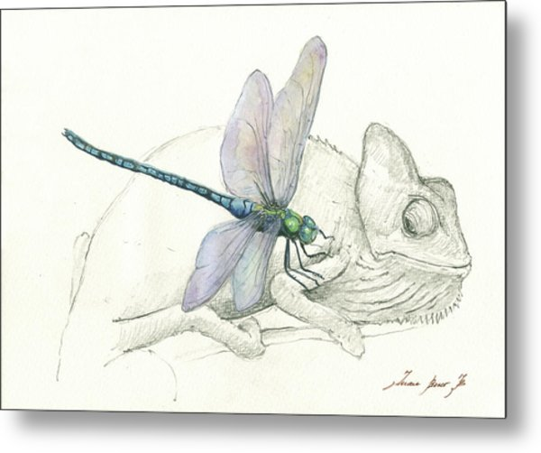 Dragonfly With Chameleon Metal Print