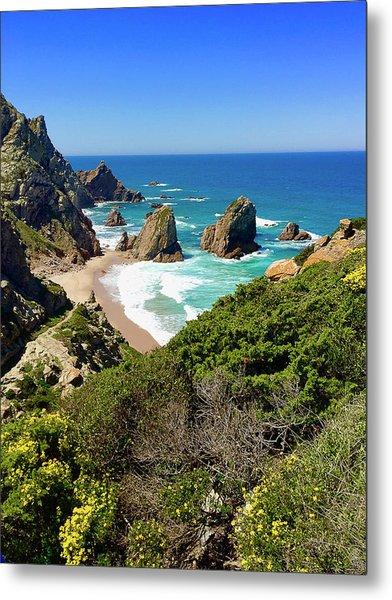 Dramatic Coastline And Beach - Portugal Metal Print by Connie Sue White