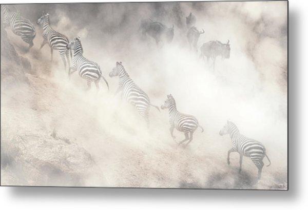 Dramatic Dusty Great Migration In Kenya Metal Print