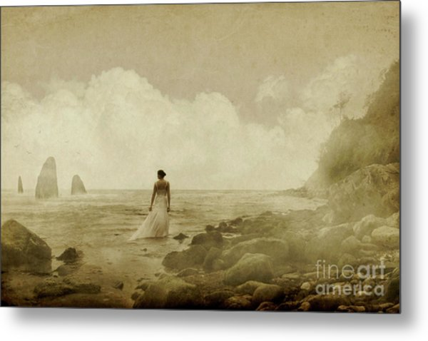 Dramatic Seascape And Woman Metal Print