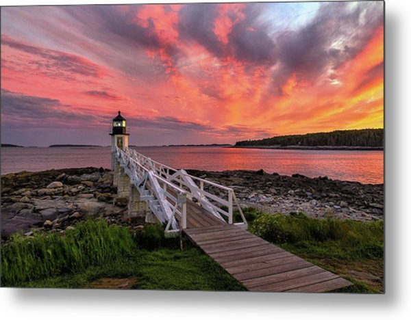 Dramatic Sunset At Marshall Point Lighthouse Metal Print