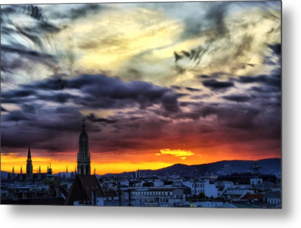 Dramatic Sunset Clouds Over Vienna Metal Print