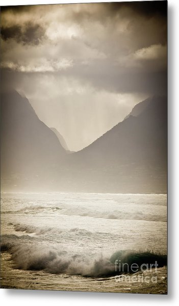 Dramatic Sunset On Maui Hawaii Iao Valley Metal Print by Denis Dore