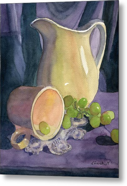 Drapes And Grapes Metal Print