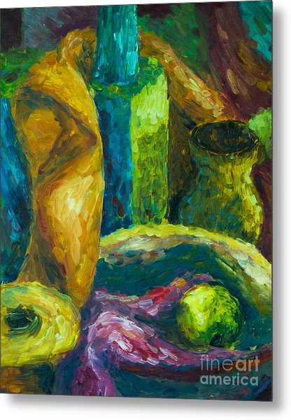 Metal Print featuring the painting Drapes And Shapes by Angelique Bowman