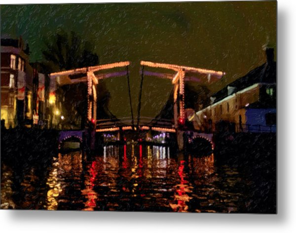 Drawbridge Over Amsterdam Canals Metal Print