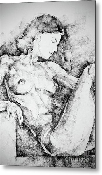 Drawing Beautiful Girl Figure Metal Print