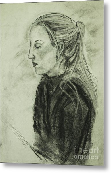 Metal Print featuring the drawing Drawing Of An Artist by Angelique Bowman