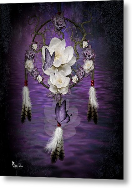 Dream Catcher Purple Flowers Metal Print