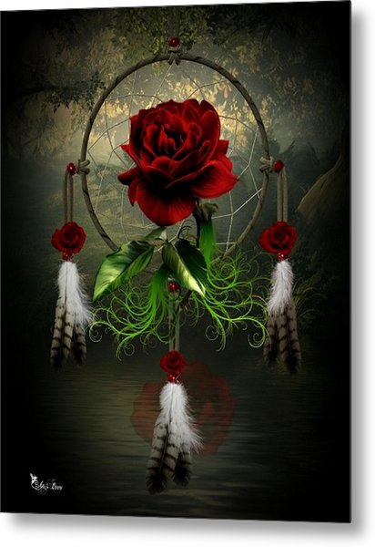 Dream Catcher Rose Metal Print