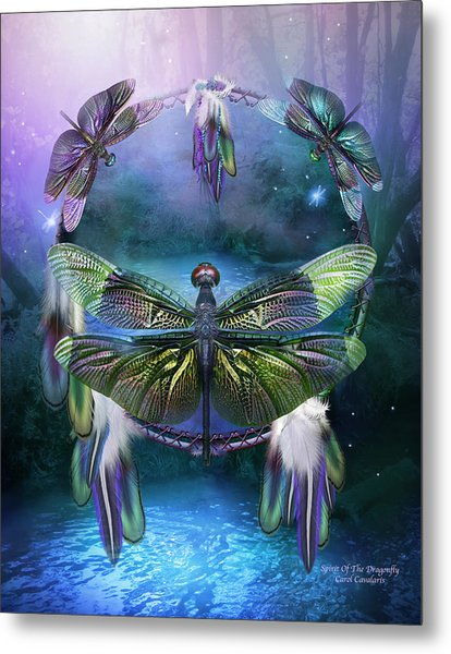 Dream Catcher - Spirit Of The Dragonfly Metal Print