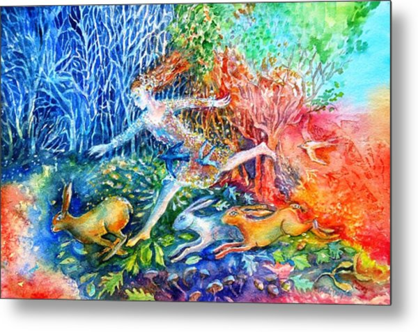 Dreaming With Hares Metal Print