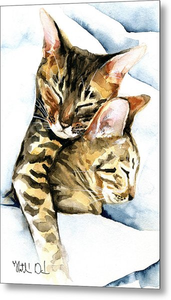 Dreamland - Bengal And Savannah Cat Painting Metal Print