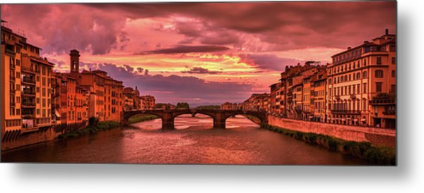 Saint Trinity Bridge From Ponte Vecchio At Red Sunset In Florence, Italy Metal Print