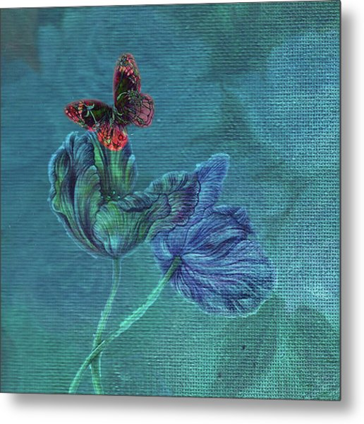 Dreamy Tulip With Gemlike Butterfly Metal Print