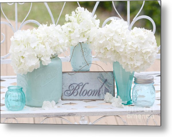 White Hydrangeas Cottage Decor- Shabby Chic White Hydrangeas In Aqua Blue Teal Mason Ball Jars Metal Print