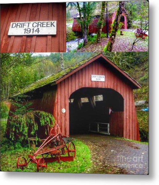 Drift Creek Covered Bridge Metal Print