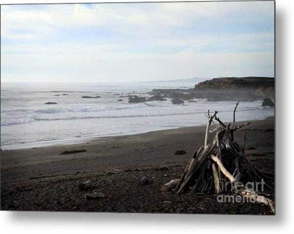 Driftwood And Moonstone Beach Metal Print