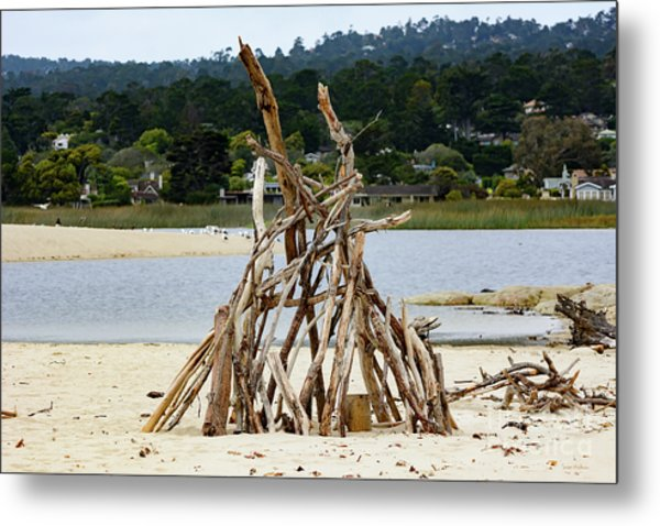 Driftwood Tipi With A View Metal Print