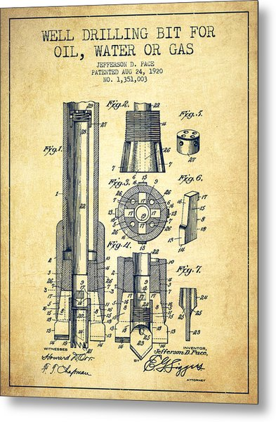 Drilling Bit For Oil Water Gas Patent From 1920 - Vintage Metal Print