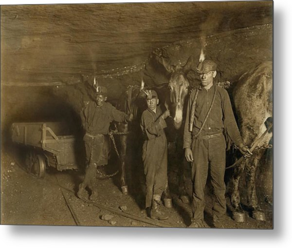 Drivers And Mules With Young Laborers Metal Print