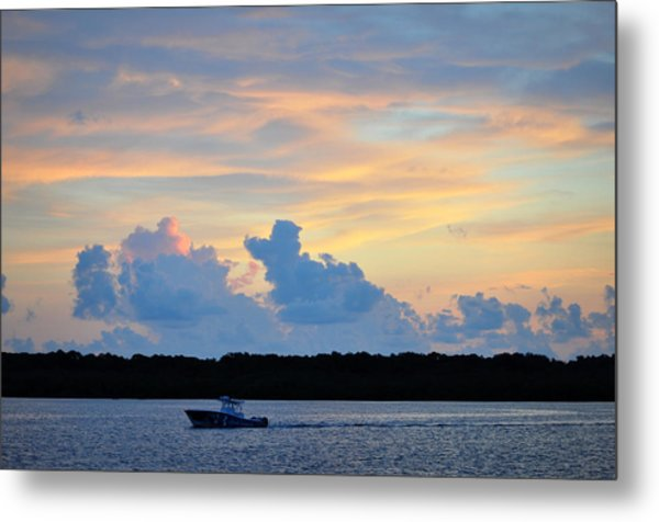 Driving Into Sunset Metal Print
