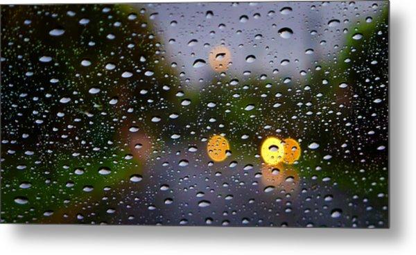 Driving Rain Metal Print