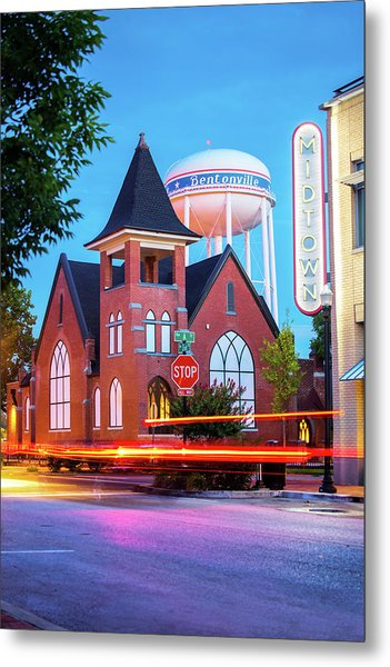 Driving Through 2nd And A Street - Bentonville Arkansas Metal Print