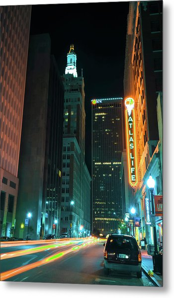 Metal Print featuring the photograph Driving Through Downtown Tulsa  by Gregory Ballos