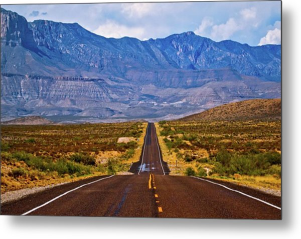 Driving To The Blue Metal Print