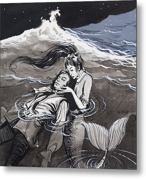 Drowned Man Being Assisted By A Mermaid Metal Print