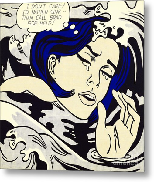 Drowning Girl - Aka Secret Hearts, I Don't Care Or I'd Rather Sink Metal Print