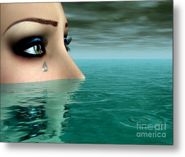Drowning In A Sea Of Tears Metal Print by Sandra Bauser Digital Art