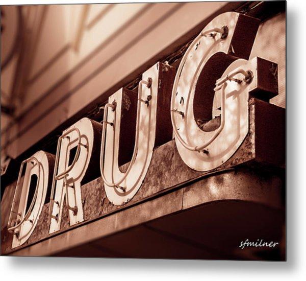 Drug Store Sign - Vintage Downtown Pharmacy Metal Print