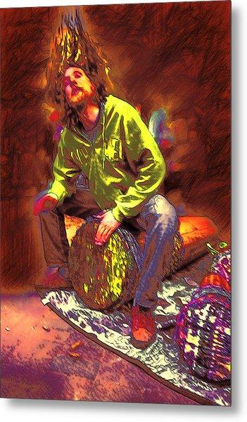Drummer On Fire Metal Print by John Haldane