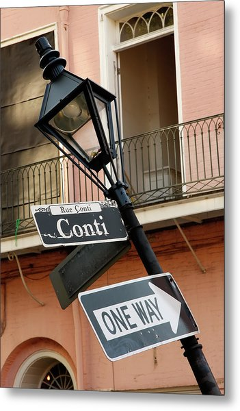 Drunk Street Sign French Quarter Metal Print