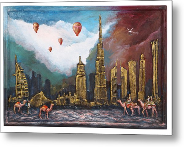 Dubai-city Of Gold Metal Print