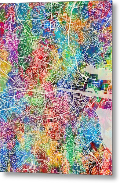 Dublin Ireland City Map Metal Print