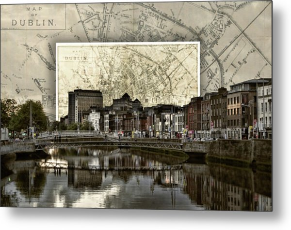 Dublin Skyline Mapped Metal Print