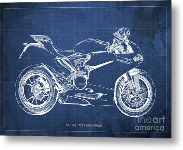 Ducati Superbike 1299 Panigale 2015, Gift For Men, Blue Background Metal Print
