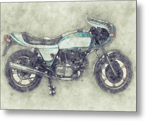 Ducati Supersport 1 - Sports Bike - 1975 - Motorcycle Poster - Automotive Art Metal Print
