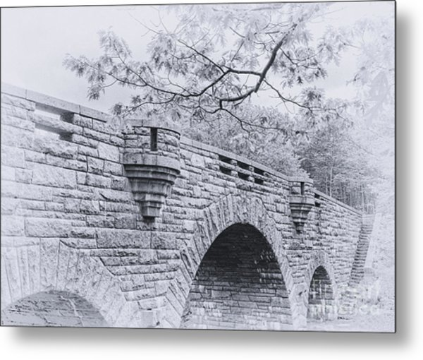 Duck Brook Bridge In Black And White Metal Print